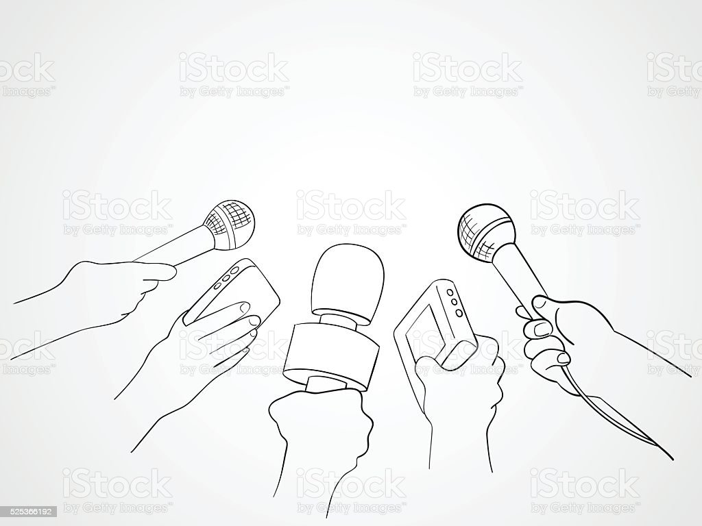 Line Art Illustration of Journalists vector art illustration