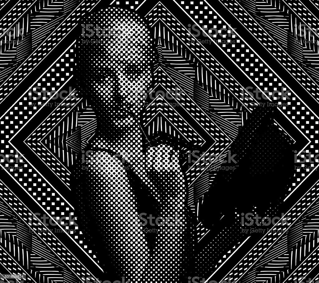 Line Art Illustration of one young woman and mirrored Pattern vector art illustration