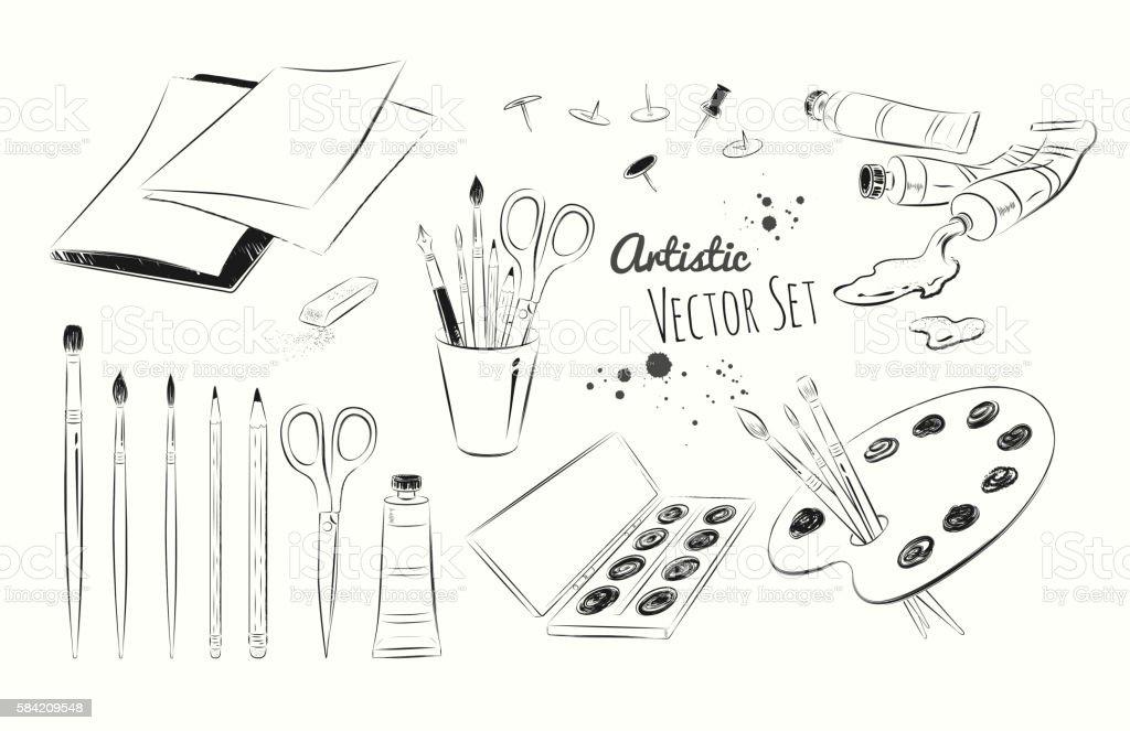 Line art illustration set of artists supplies vector art illustration