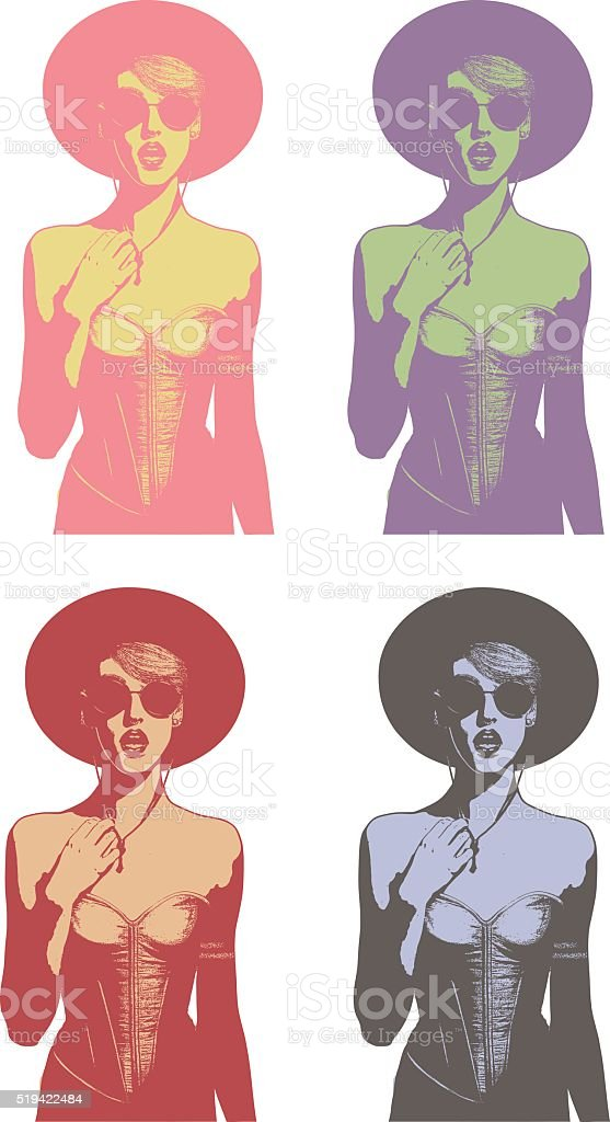 Line art illustrations of a fashionable woman speaking vector art illustration