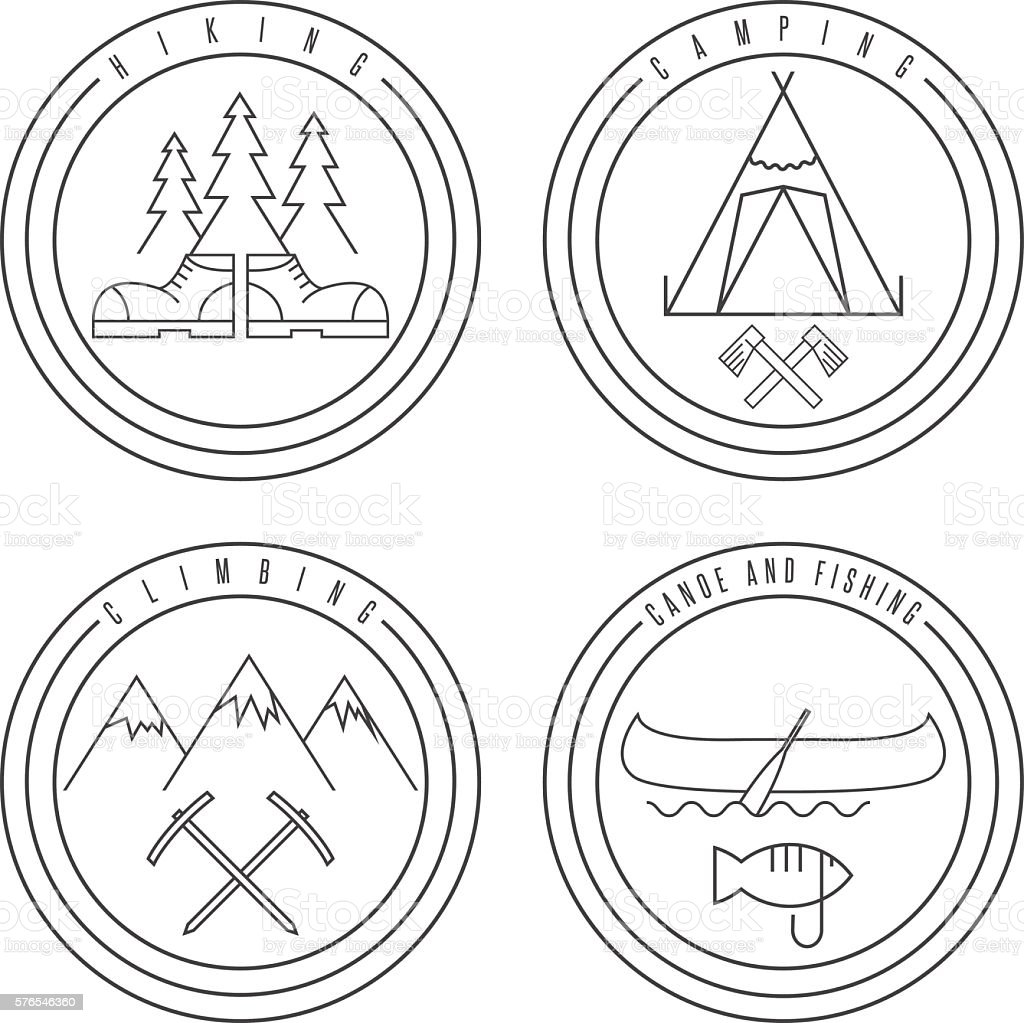 line art labels with canoe,camping,climbing and hiking vector art illustration