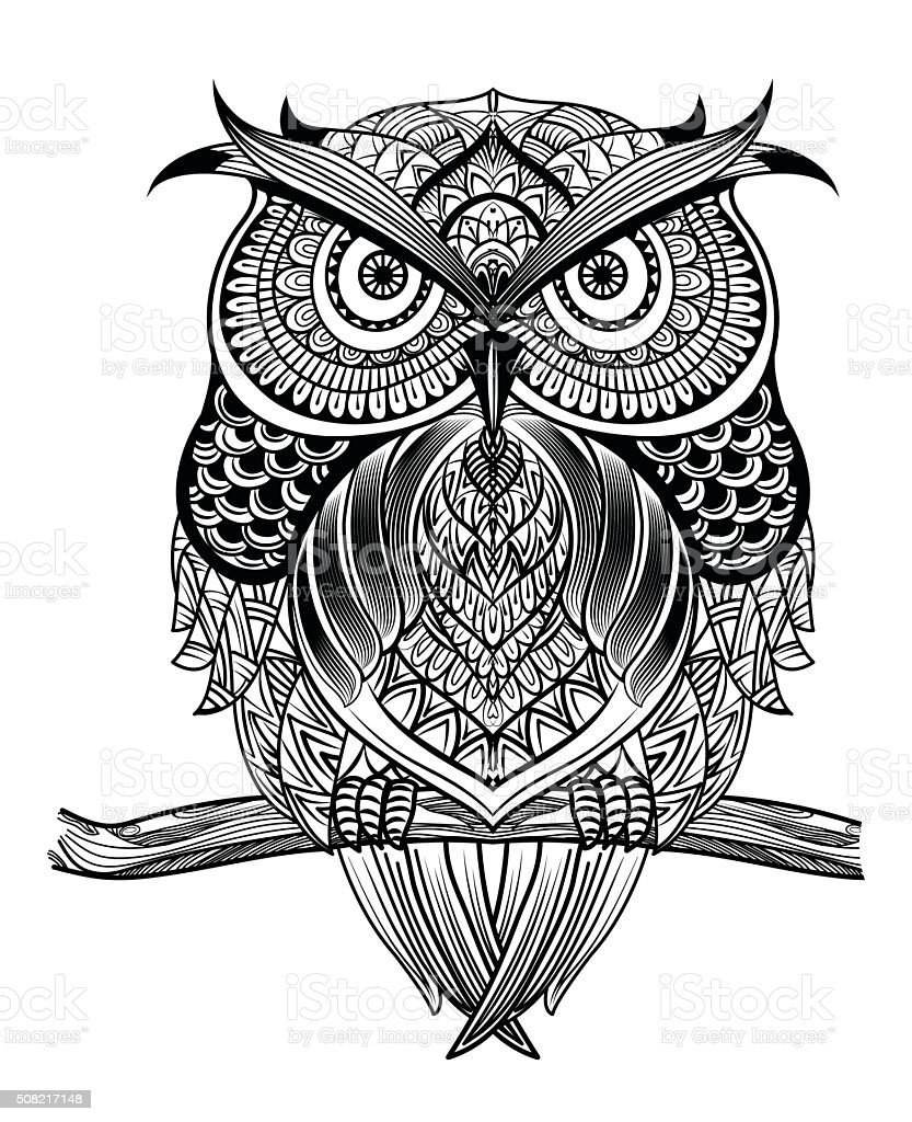 Line Drawing Animal Tattoos : Line art owl stock vector istock