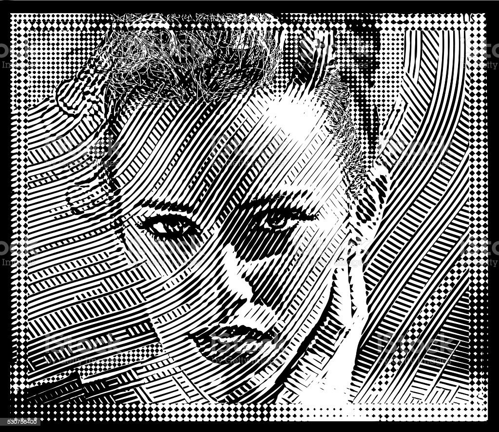 Line Art Portrait of one young woman and Halftone Pattern vector art illustration