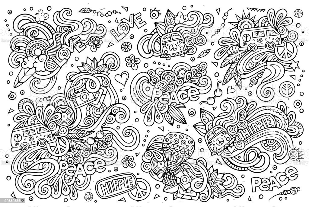 Line art vector hand drawn Doodle cartoon set of hippie objects and...
