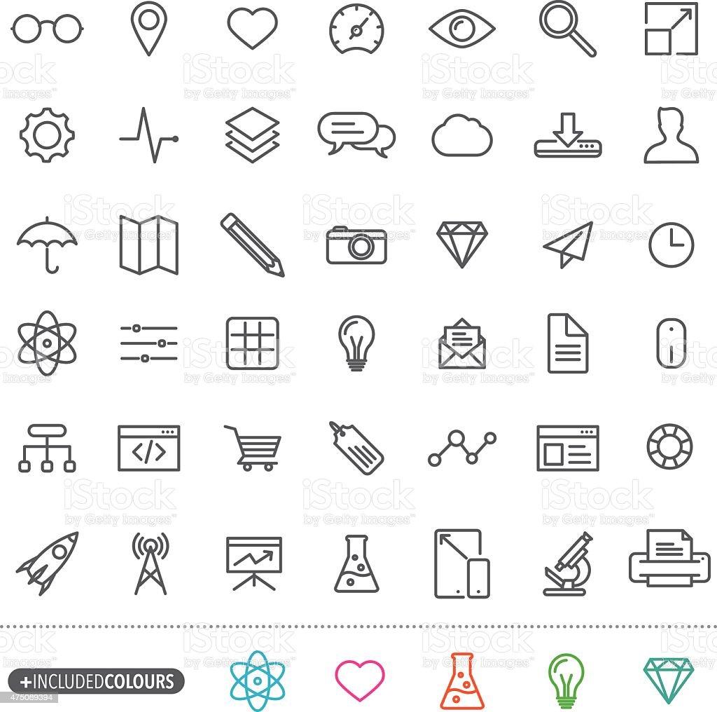 Line art simple web icons set vector art illustration