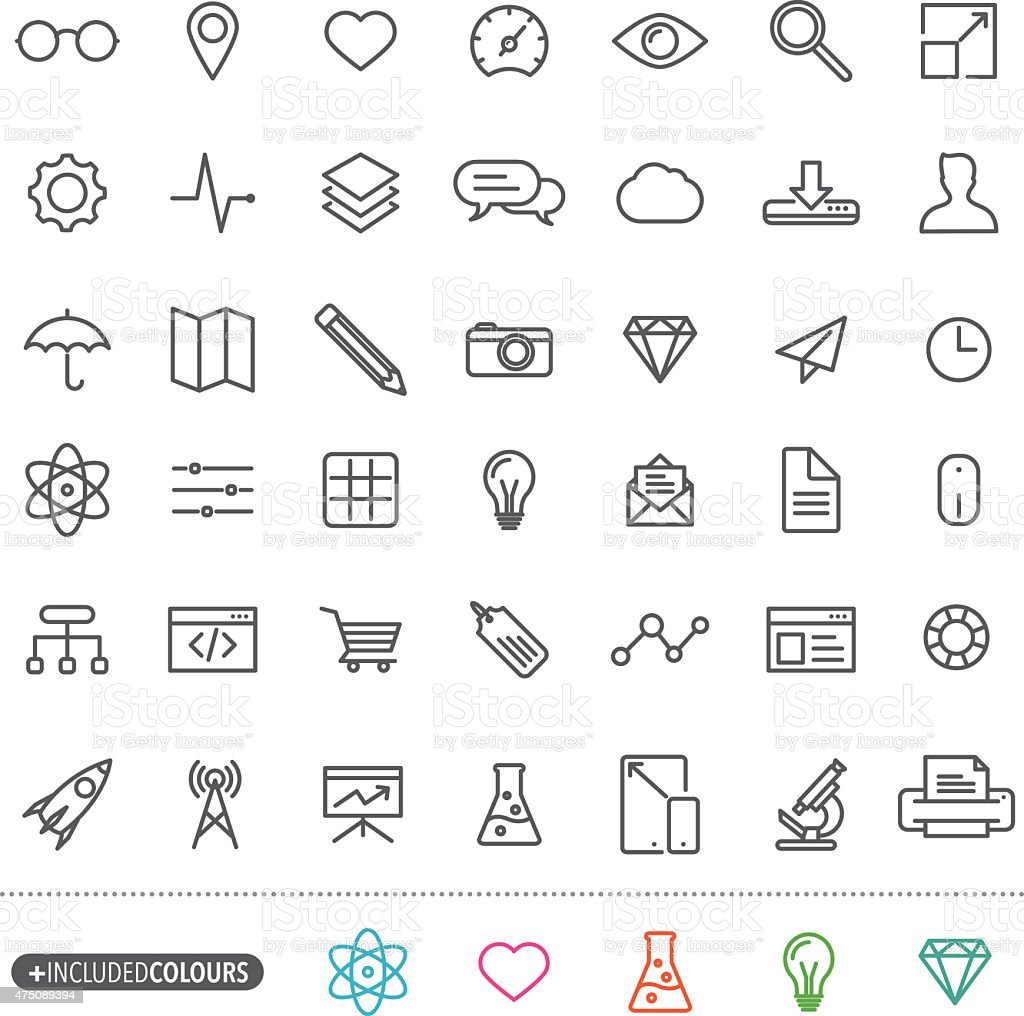 Line art simple web icons set vector art illustration