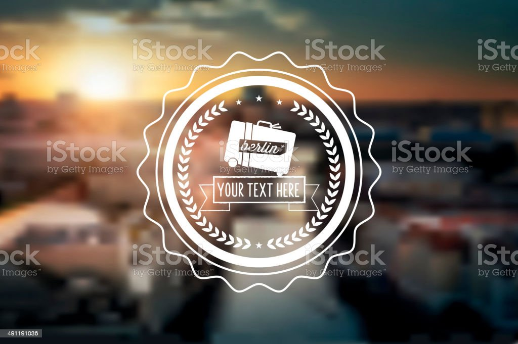 line art travel icon on blurred berlin background stock photo