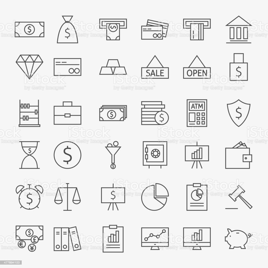 Line Banking Money and Finance Icons Big Set vector art illustration
