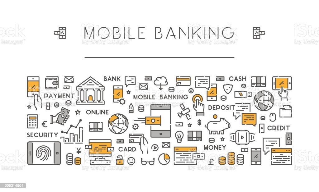 Line banner for mobile banking and payments vector art illustration