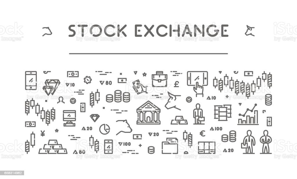 Line banner for stock market and commodity exchange vector art illustration