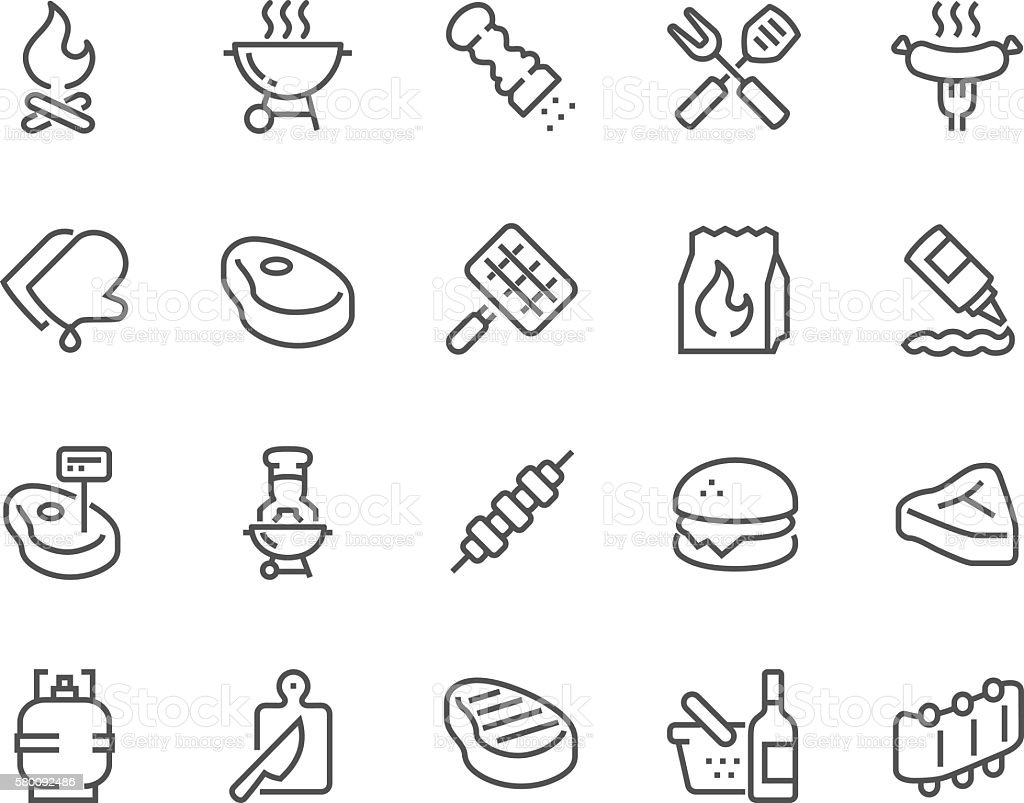 Line Barbecue Icons vector art illustration