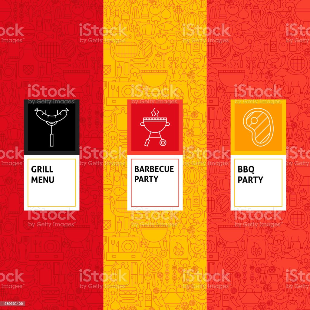 Line Barbecue Patterns Set vector art illustration