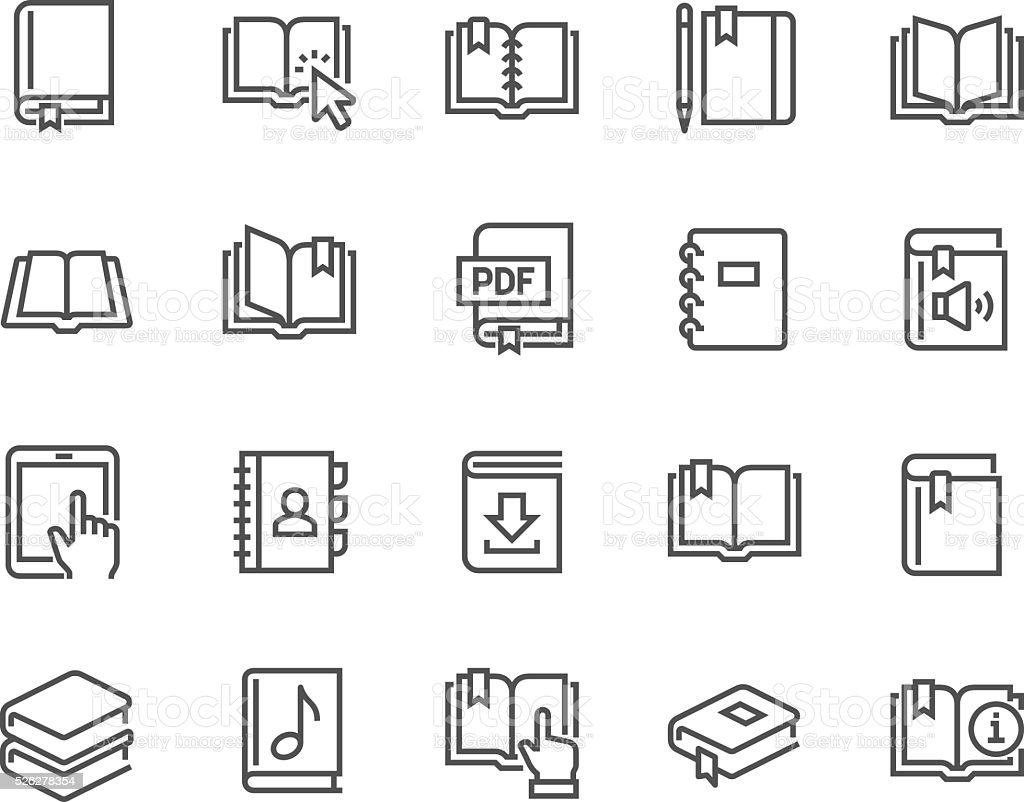 Line Book Icons vector art illustration