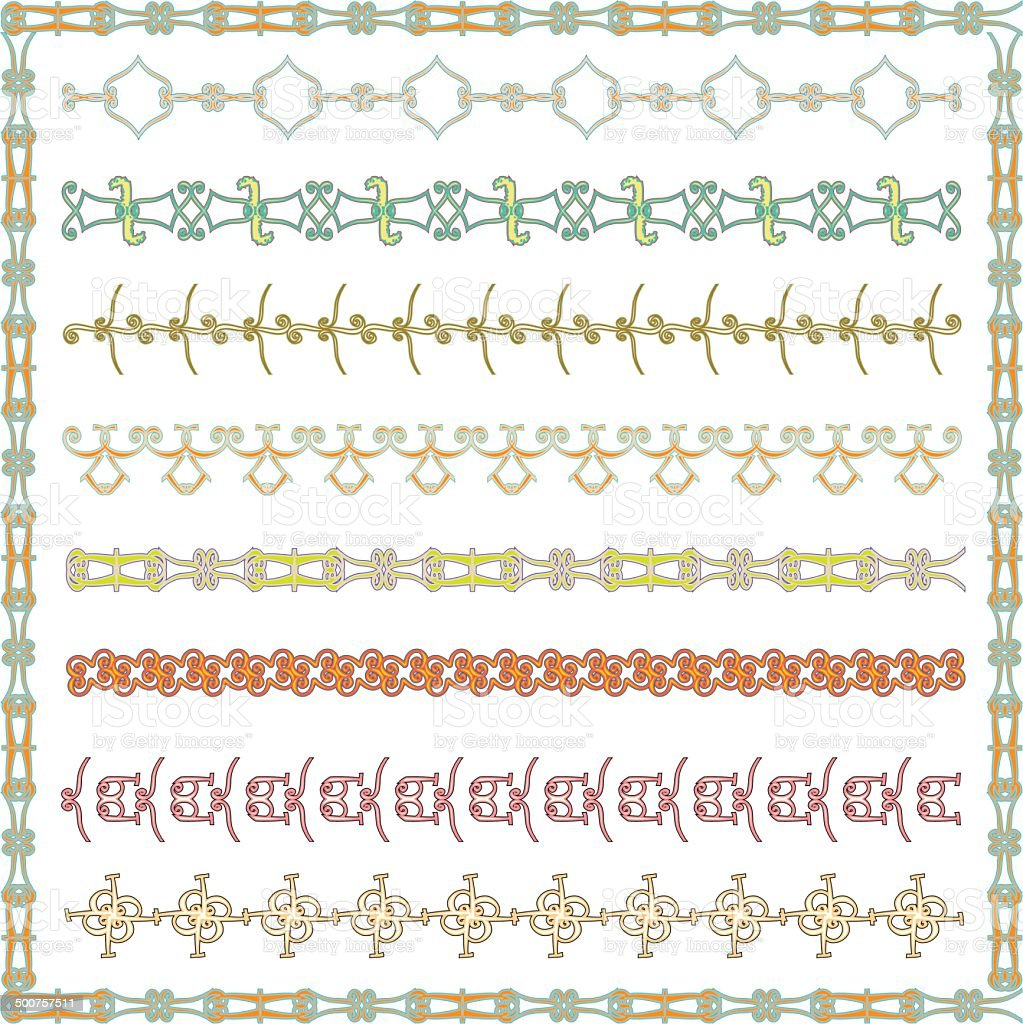 Line Border Set And Frame royalty-free stock vector art