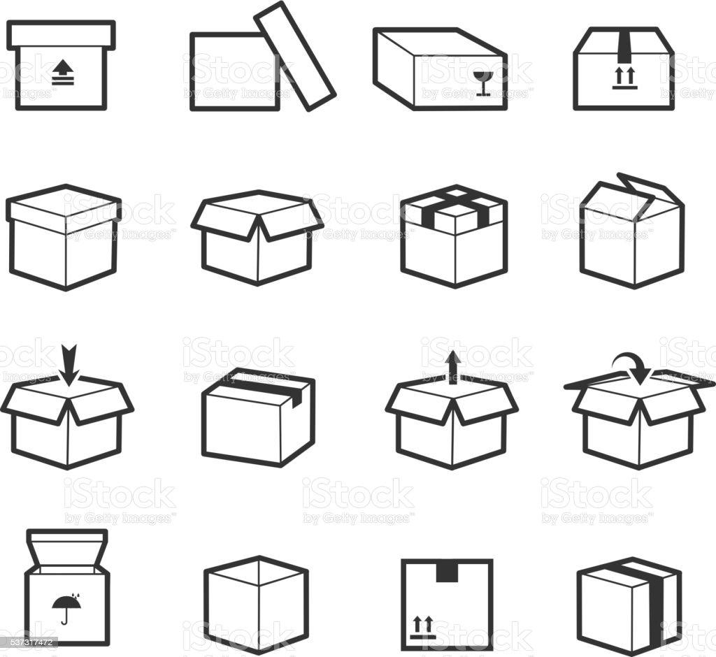 Line box vector icons vector art illustration