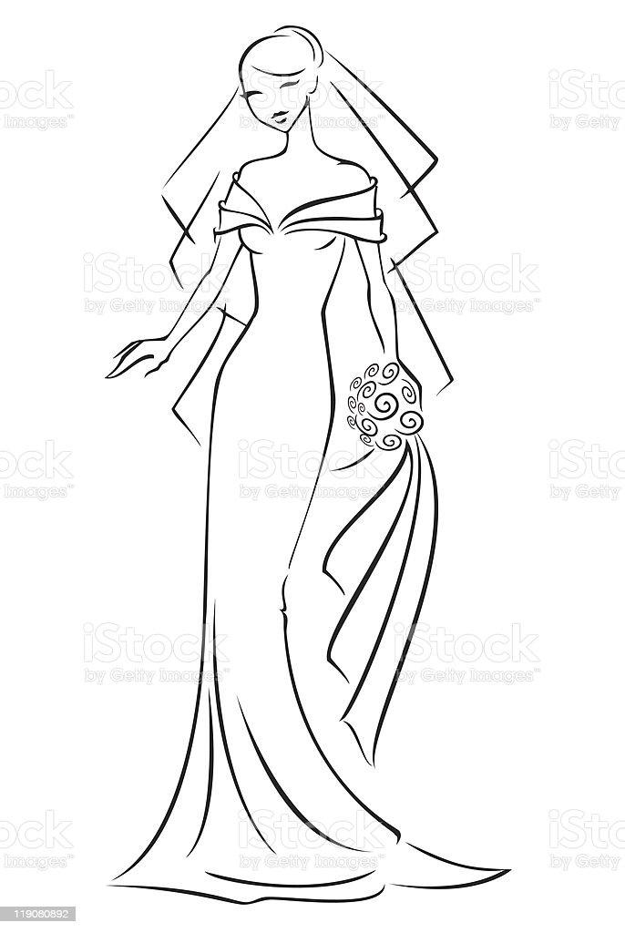 Line Bride vector art illustration