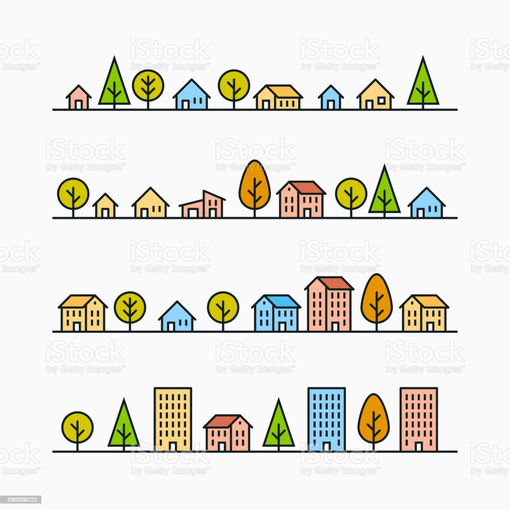 Line buildings and trees in line, 4 different styles vector art illustration
