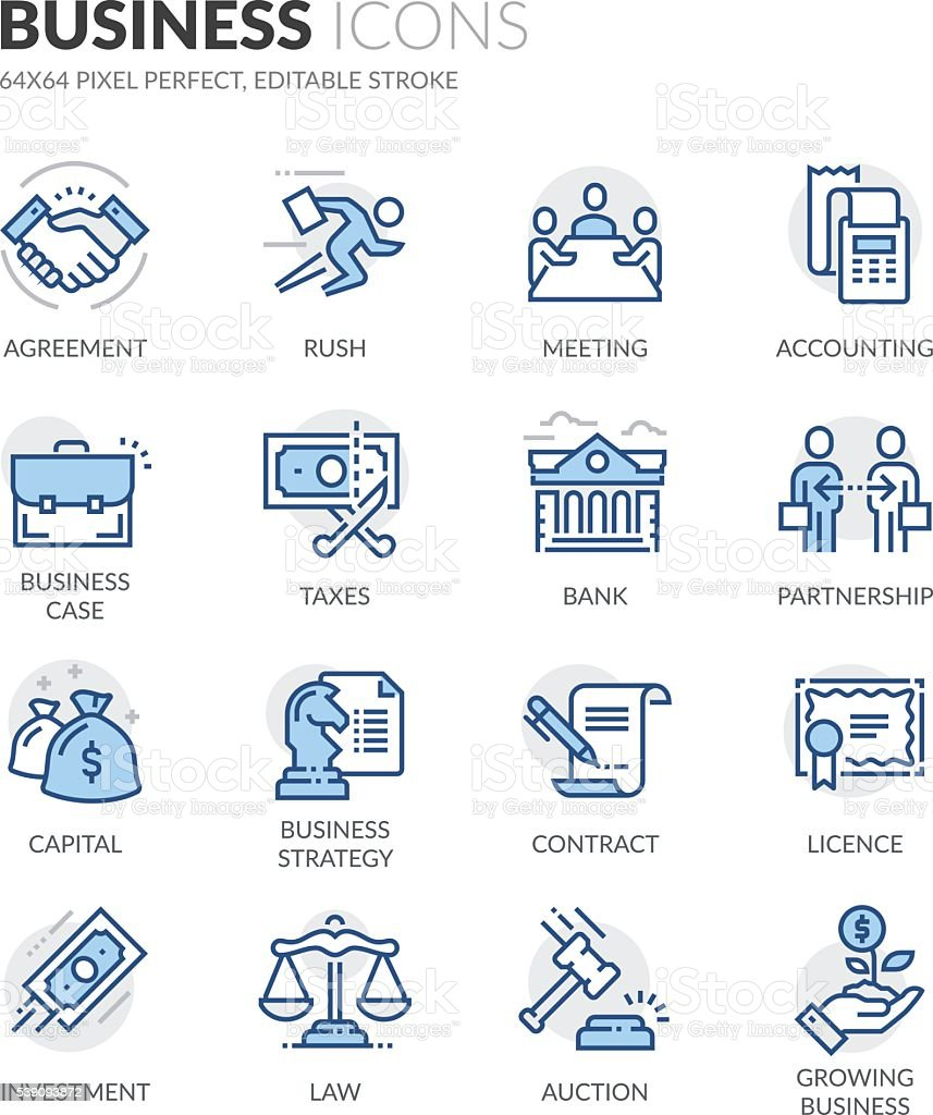 Line Business Icons vector art illustration