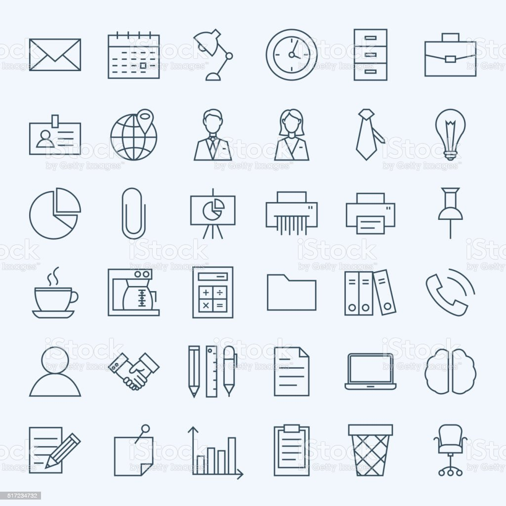Line Business Office Icons Set vector art illustration