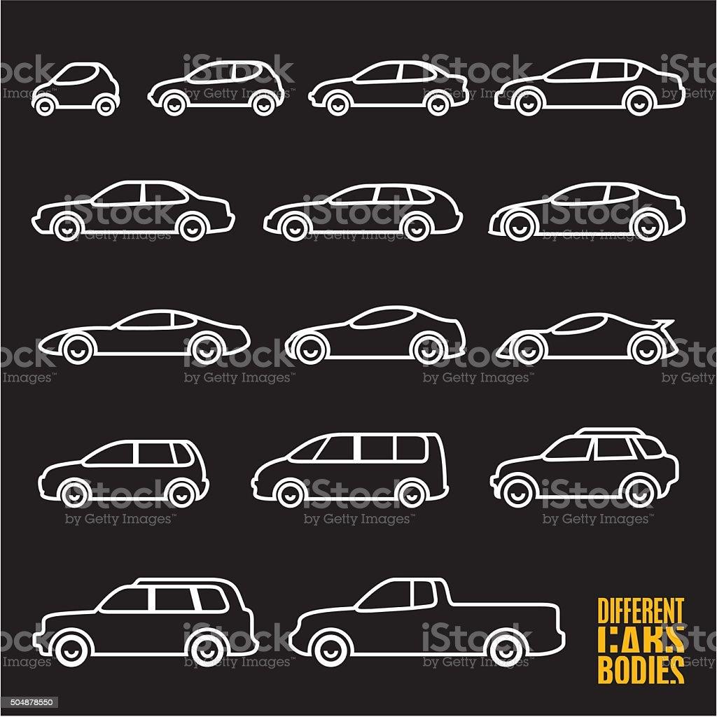 line car icons on black background vector art illustration