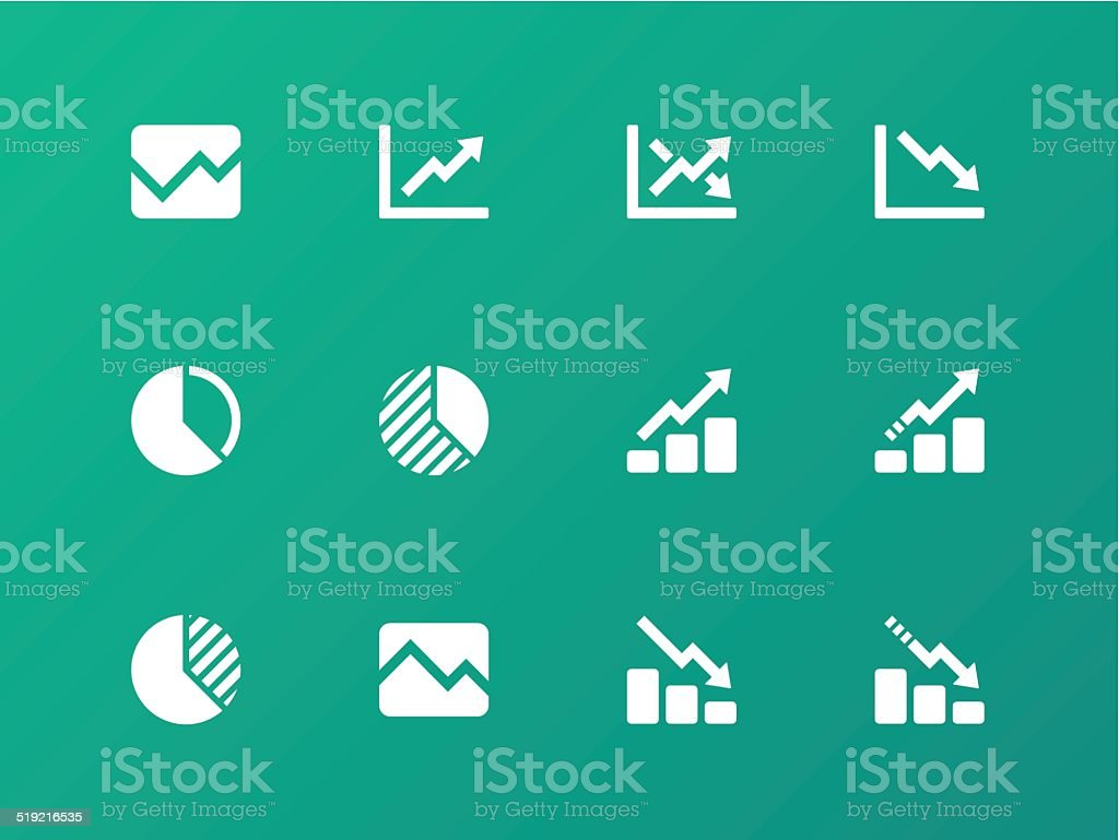 Line chart and Diagram icons on green background. vector art illustration