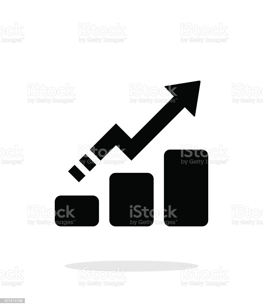 Line chart up icon on white background. vector art illustration