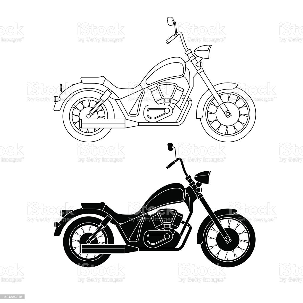 Line chopper motorcycles. vector art illustration
