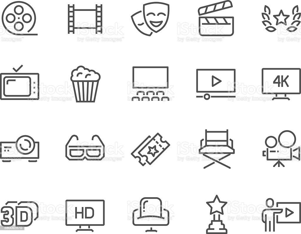 Line Cinema Icons vector art illustration