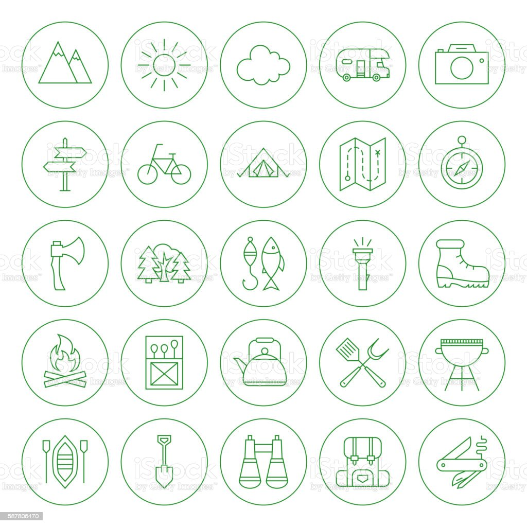Line Circle Camping Icons Set vector art illustration