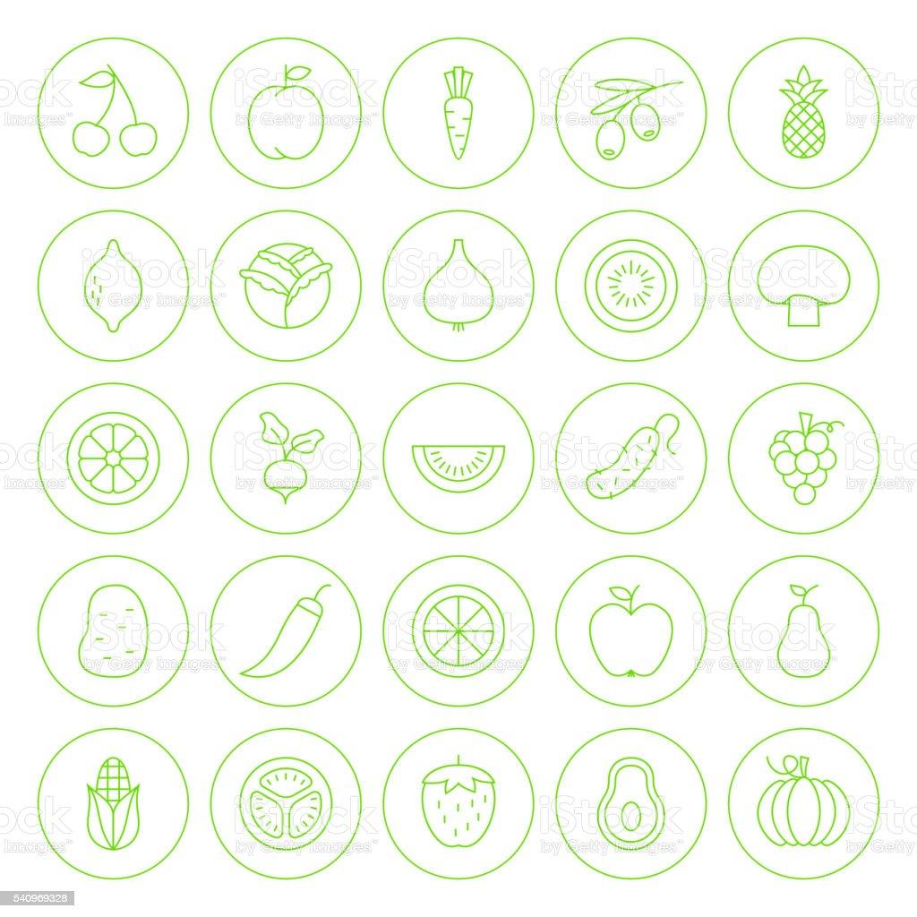 Line Circle Fresh Fruit Vegetable Icons Set vector art illustration