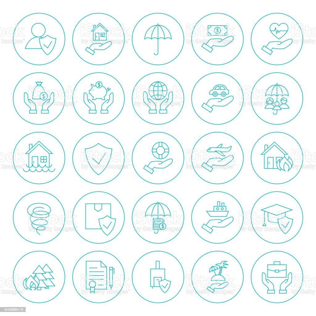 Line Circle Insurance Icons Set vector art illustration