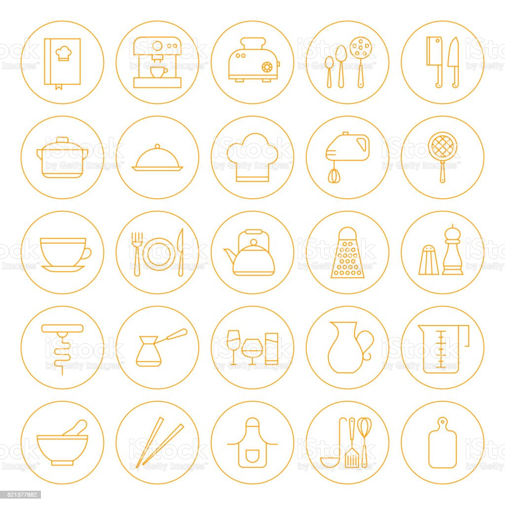Line Circle Kitchenware and Cooking Icons Set vector art illustration