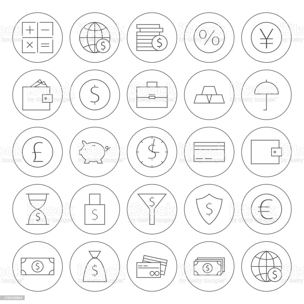 Line Circle Money Finance Banking Icons Set vector art illustration