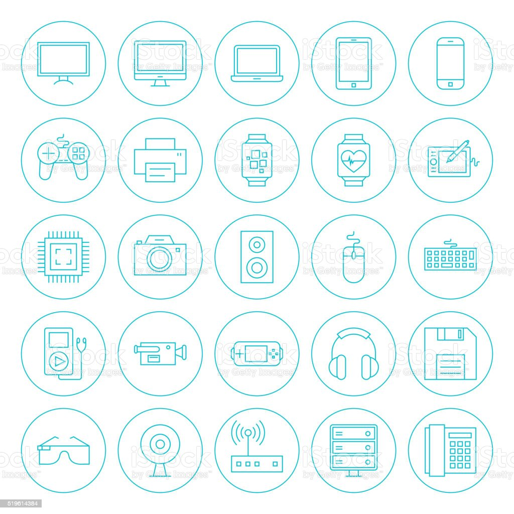 Line Circle Technology Gadgets Icons Set vector art illustration