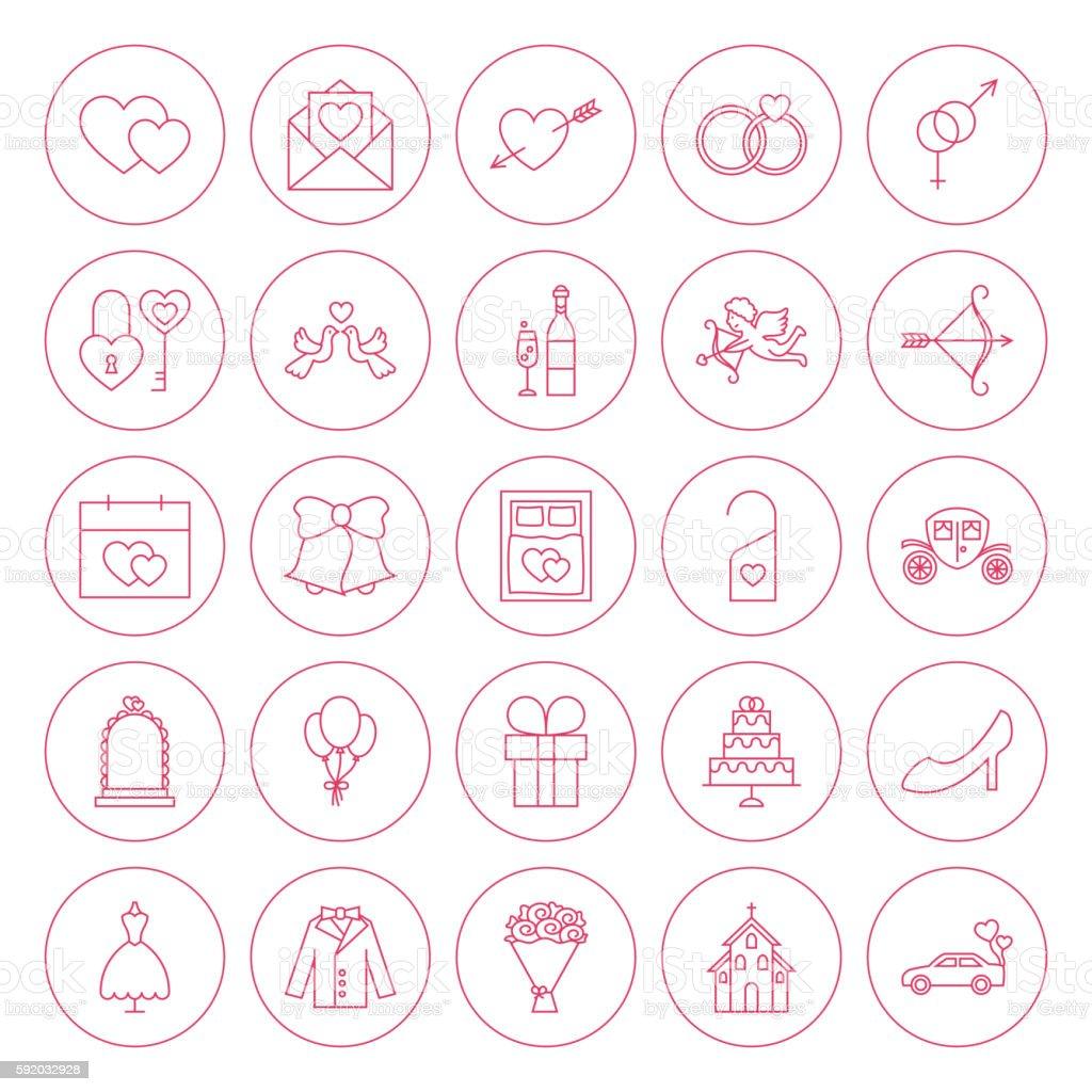 Line Circle Wedding Icons Set vector art illustration