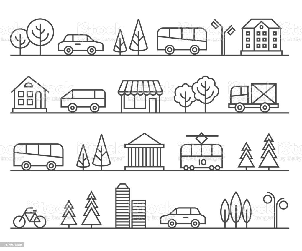 Line city illustration. Vector urban landscape vector art illustration