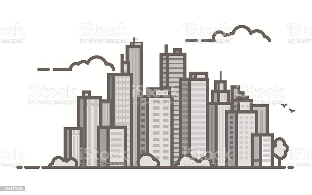 Line city scene vector art illustration
