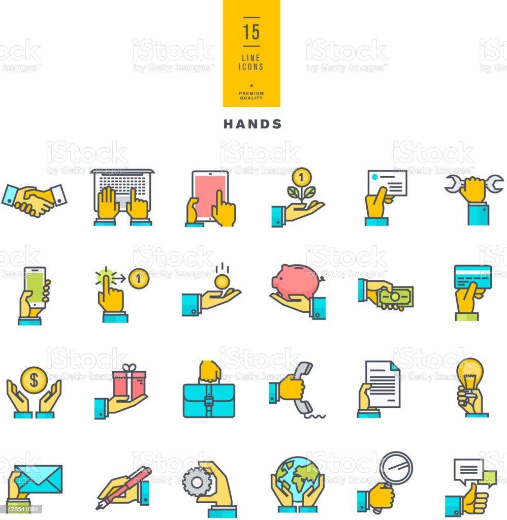 color de los iconos de la mano con una variedad de productos. illustracion libre de derechos libre de derechos