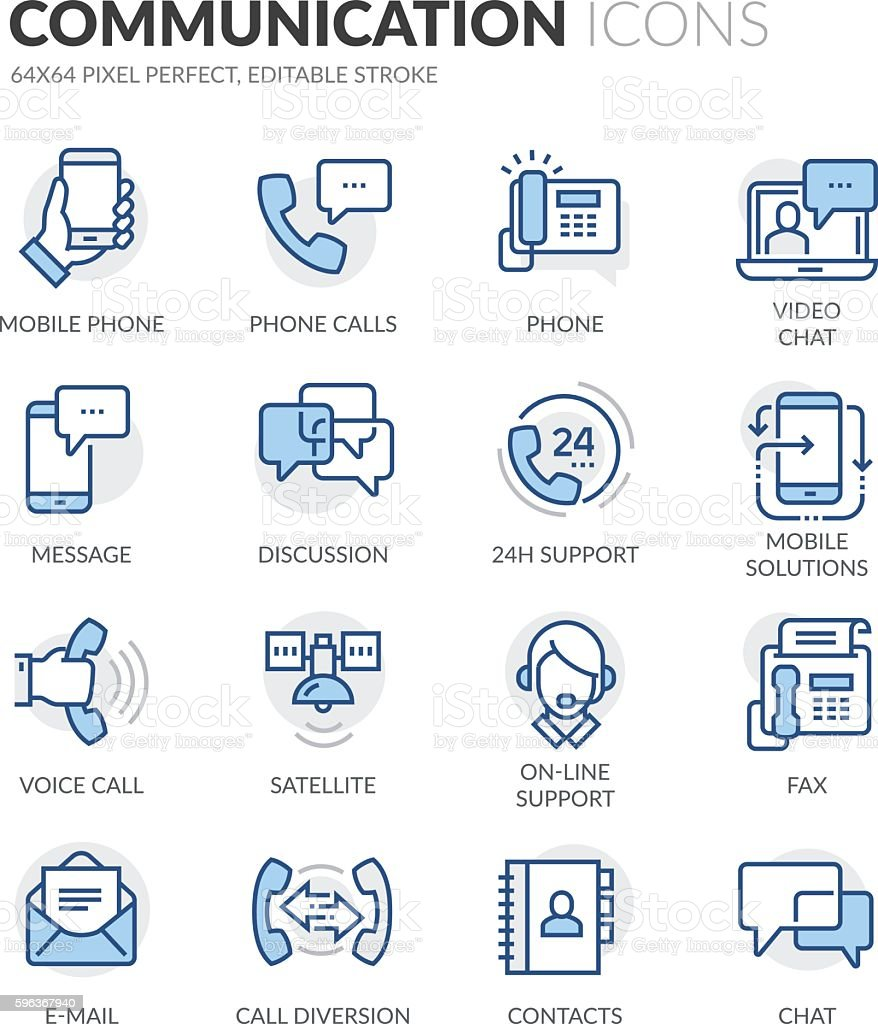 Line Communication Icons vector art illustration