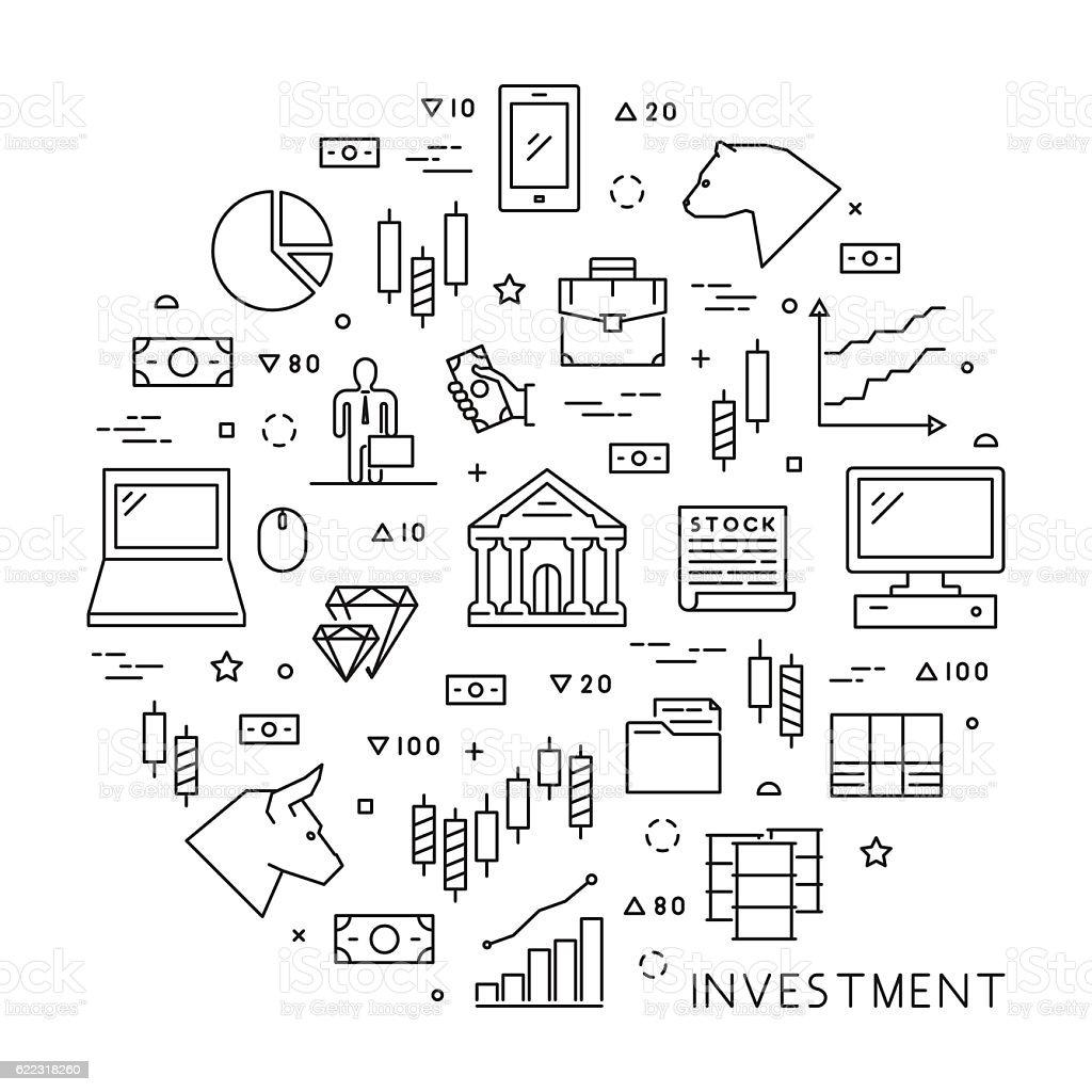 Line concept of online trading vector art illustration