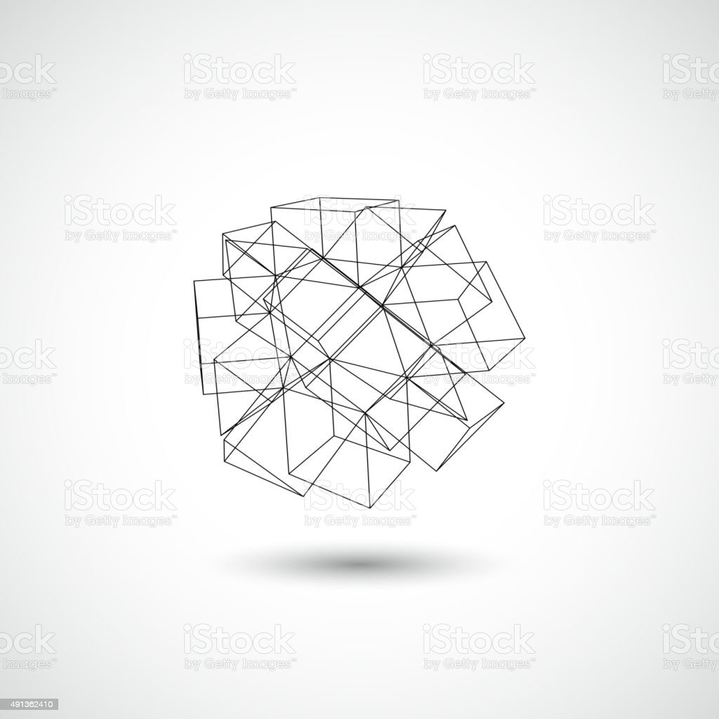 line cube pattern icon vector art illustration