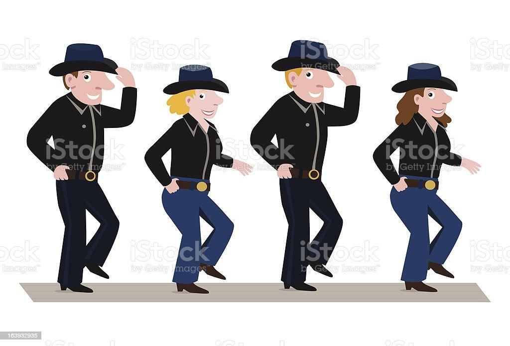 Cowboy Line Dance Clip Art