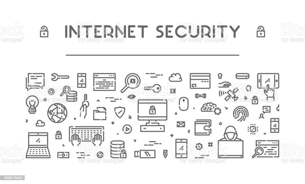 Line design banner for internet security vector art illustration