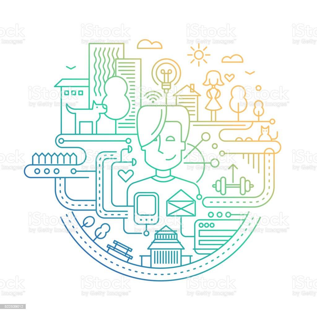 Line design city lifestyle composition - color gradient vector art illustration