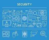 Line design concept web banner for internet security.