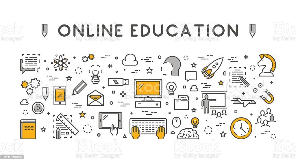 Line design concept web banner for online education. vector art illustration
