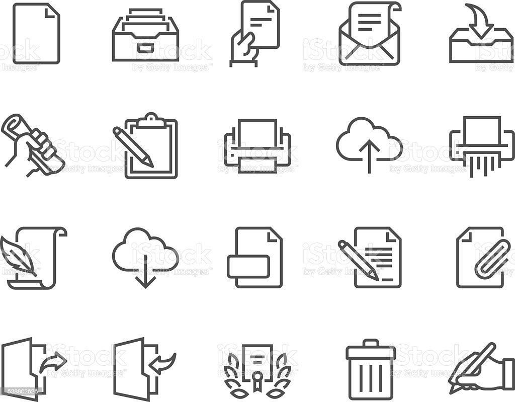 Line Document Icons vector art illustration