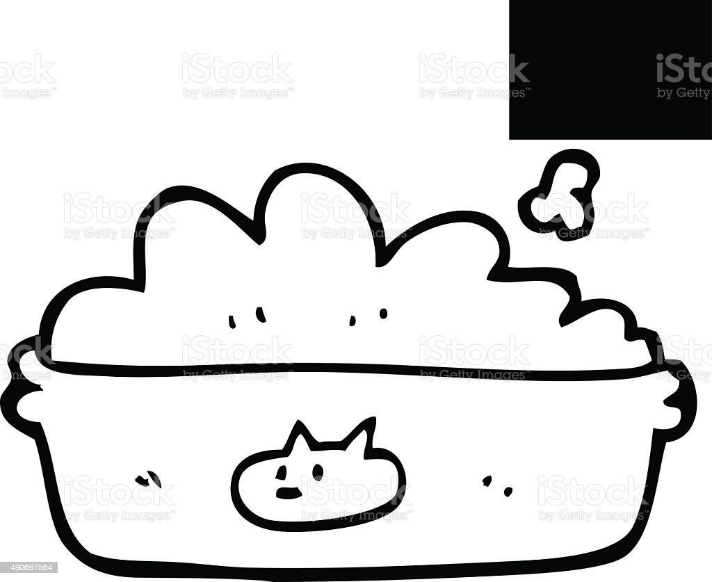 Line Drawing Food : Line drawing cartoon cat food stock vector art