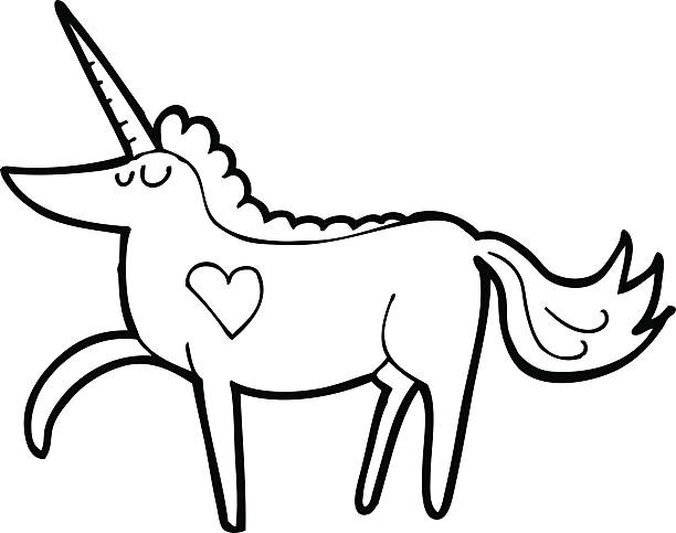 Line Drawing Cartoon Unicorn Vector Art Illustration