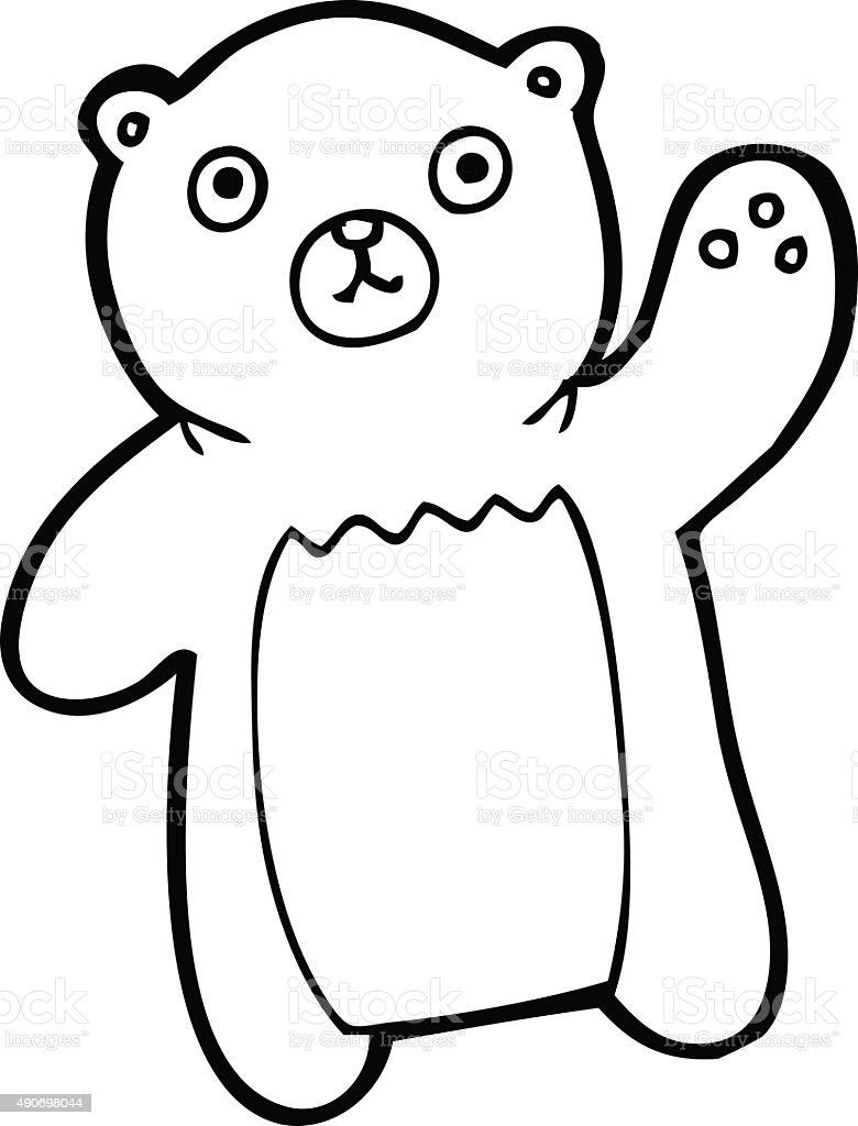 Line Drawing Bear : Line drawing cartoon waving bear stock vector art